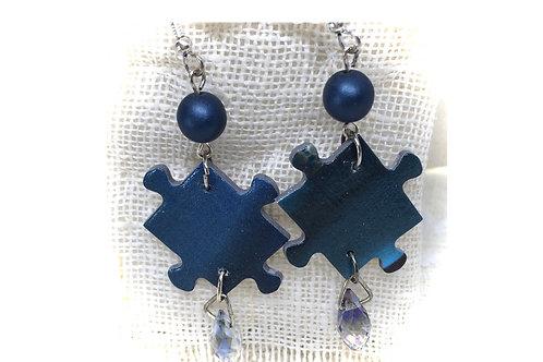 Blue Sky Jigsaw Earrings