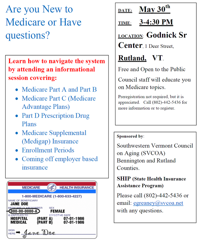 NEXT MEDICARE WORKSHOP IN RUTLAND