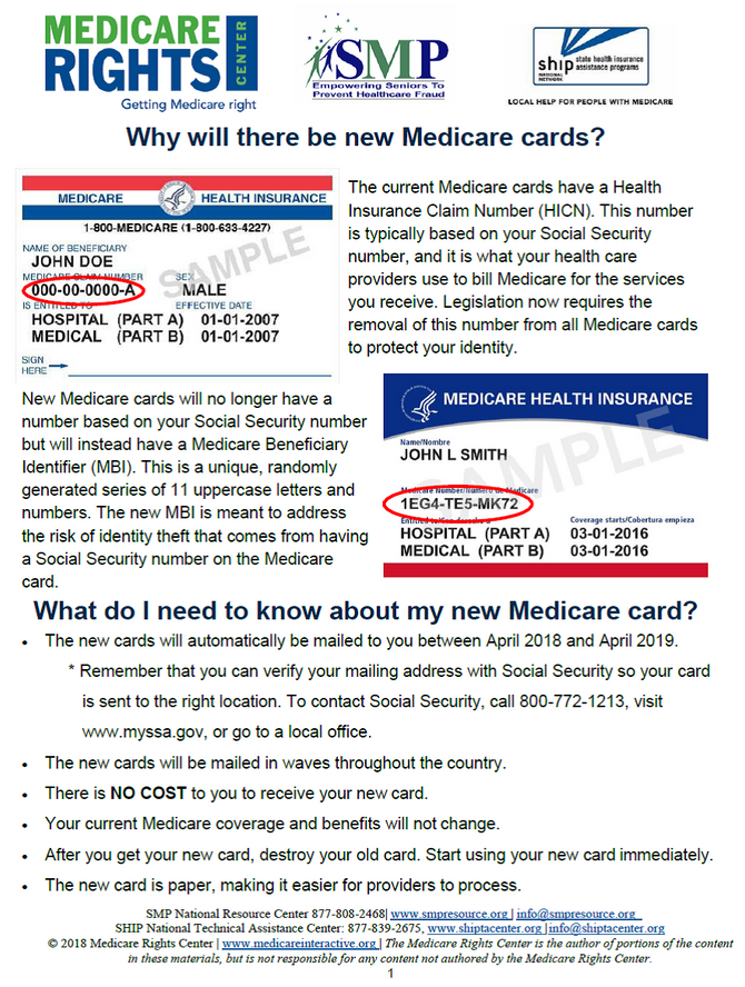 New Medicare Cards / Tips & Reminders