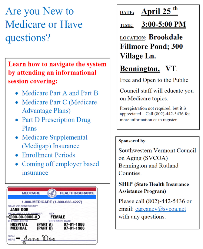 NEXT MEDICARE WORKSHOP IN BENNINGTON