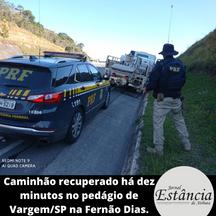Caminhão recuperado há dez minutos no pedágio de Vargem/SP na Fernão Dias.