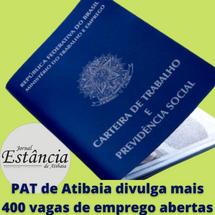 PAT de Atibaia divulga mais 400 vagas de emprego abertas