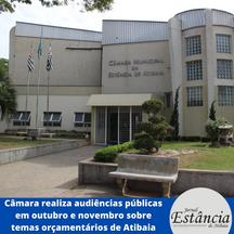 Câmara realiza audiências públicas em outubro e novembro sobre temas orçamentários de Atibaia