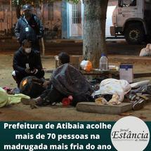 Prefeitura de Atibaia acolhe mais de 70 pessoas na madrugada mais fria do ano