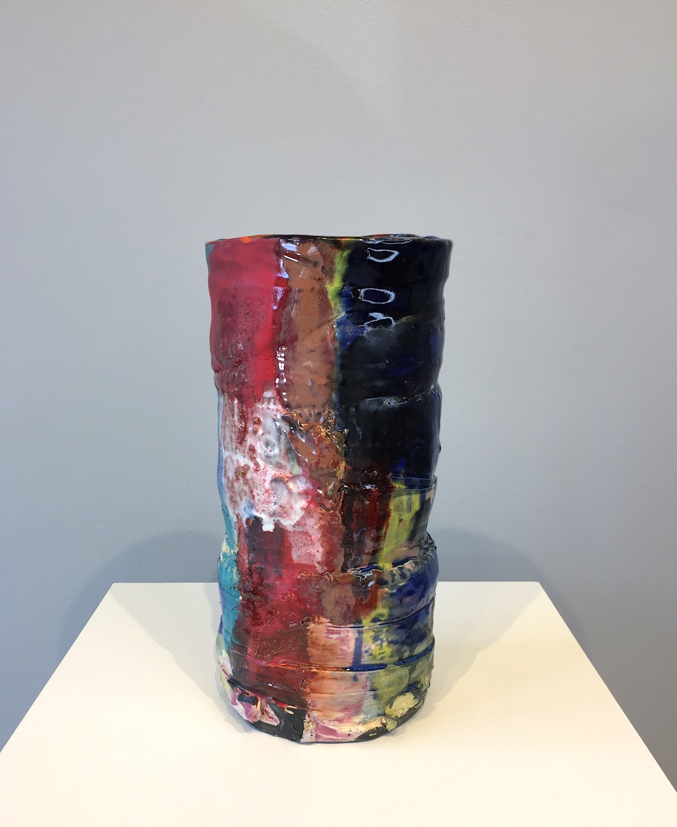 Stacked Vase (Red, Blue, & Black)