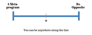 Meta-programs can differ per occasion since it is context-based. You may find your behaviour changing depending on your situation. You can act according to a meta-program or the entire opposite or anywhere in-between these extremes. The image below illustrates the range where you can find yourself.