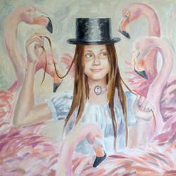 Ekaterina Khazina portret with flamingos