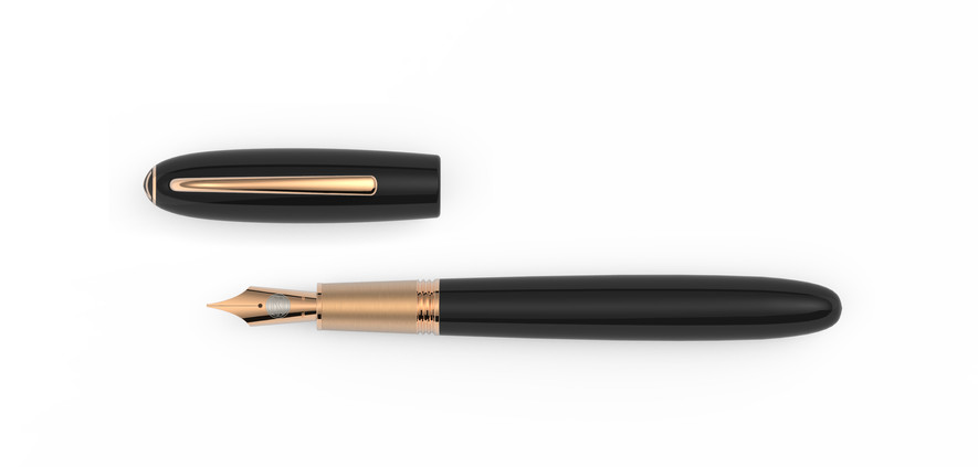 solid gold nib rose gold plated fittings high glossy polished ebonite  1.475,- €