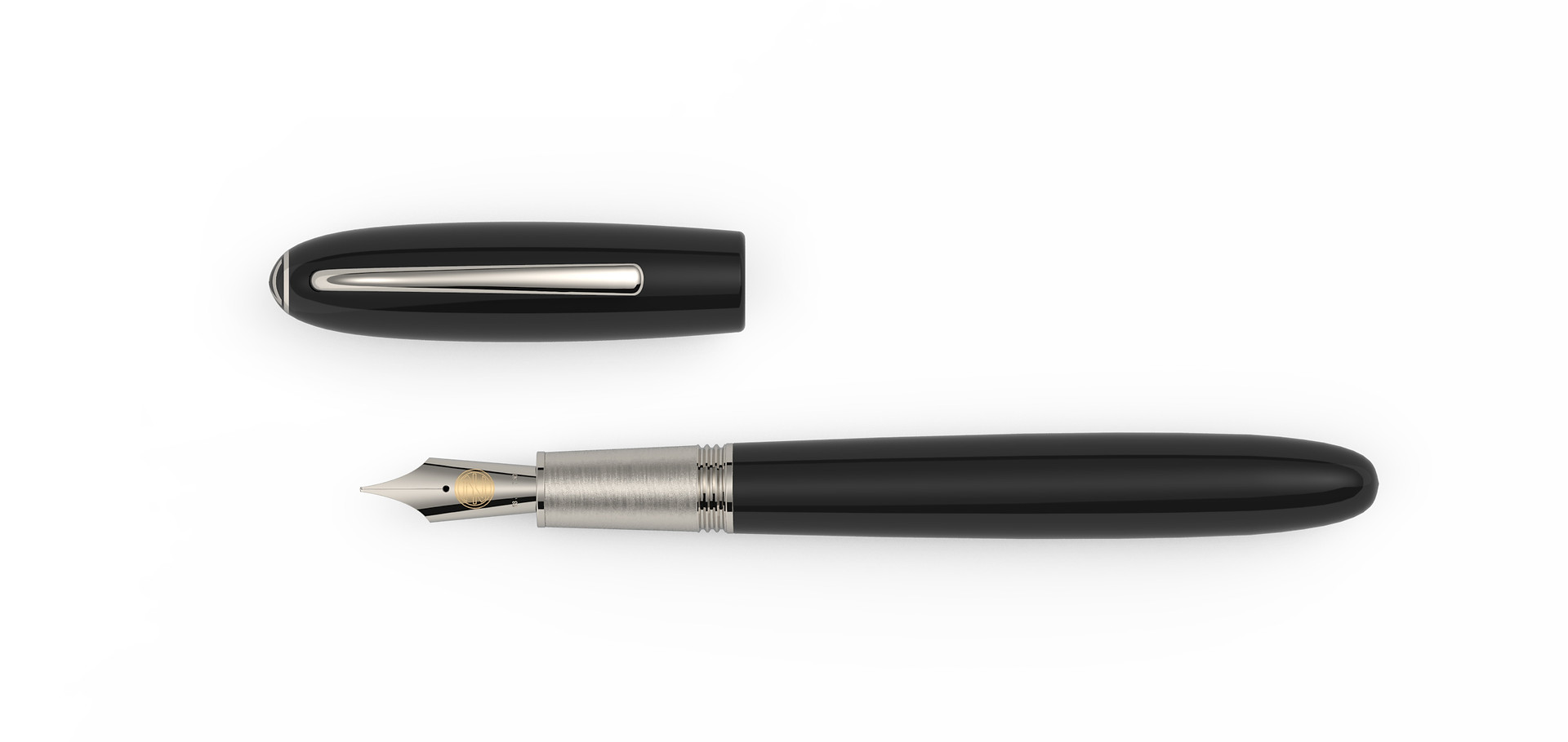 solid gold nib platinum plated fittings high gloss polished Ebonit  1.475,- €