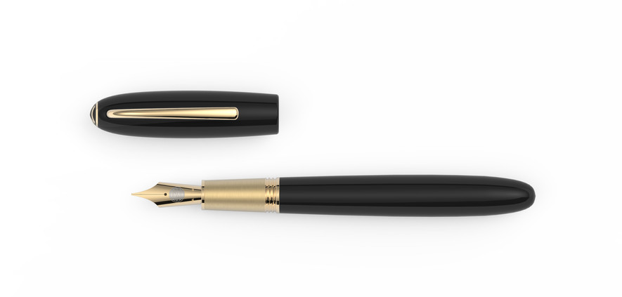solid gold nib yellow gold plated fittings high glossy polished ebonite  1.475,- €