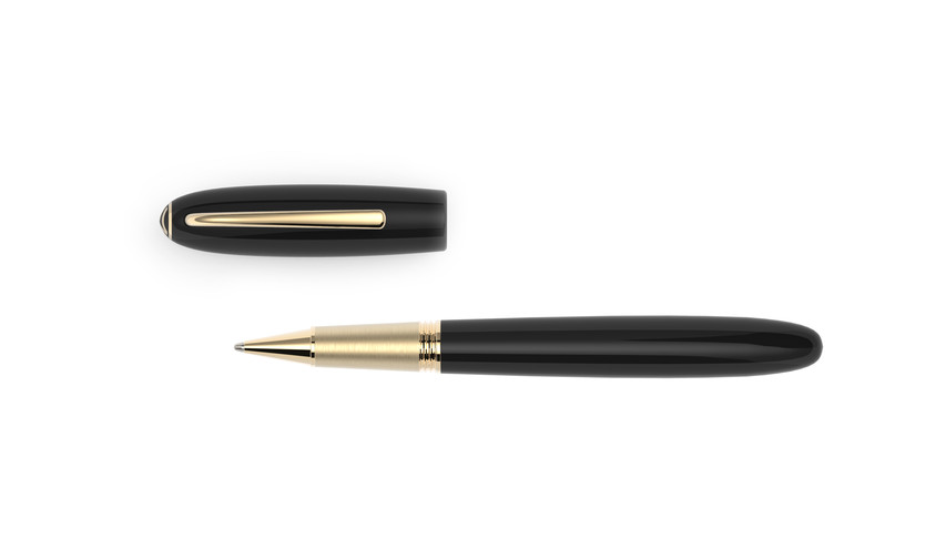 yellow gold plated fittings high glossy polished ebonite  1.275,- €