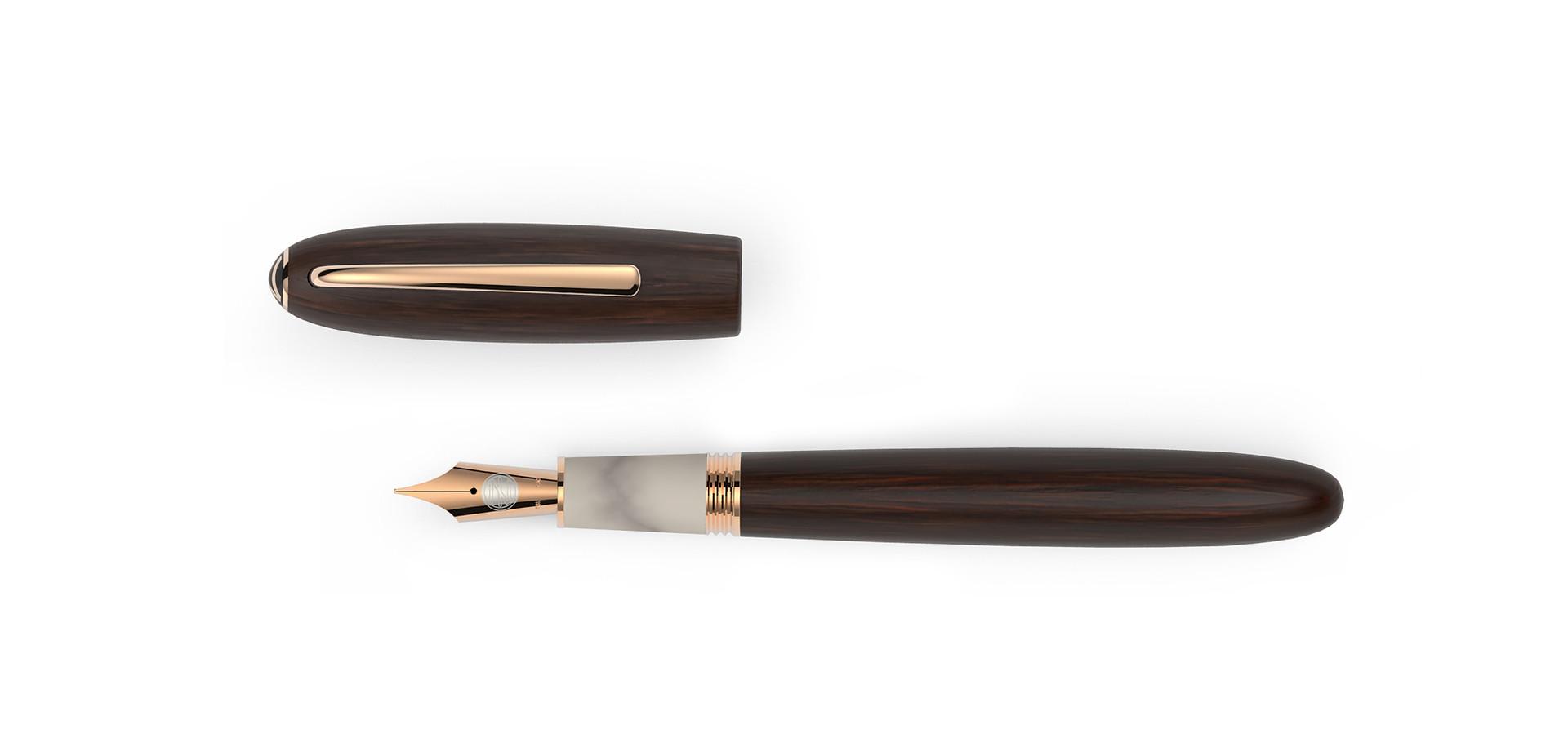 solid gold nib rosegold plated fittings satined matt Grenedilla wood horn  1.475,- €