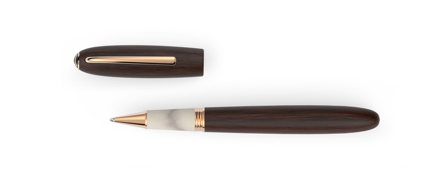 rose gold plated fittings satined Grenadilla wood horn  1.345,- €