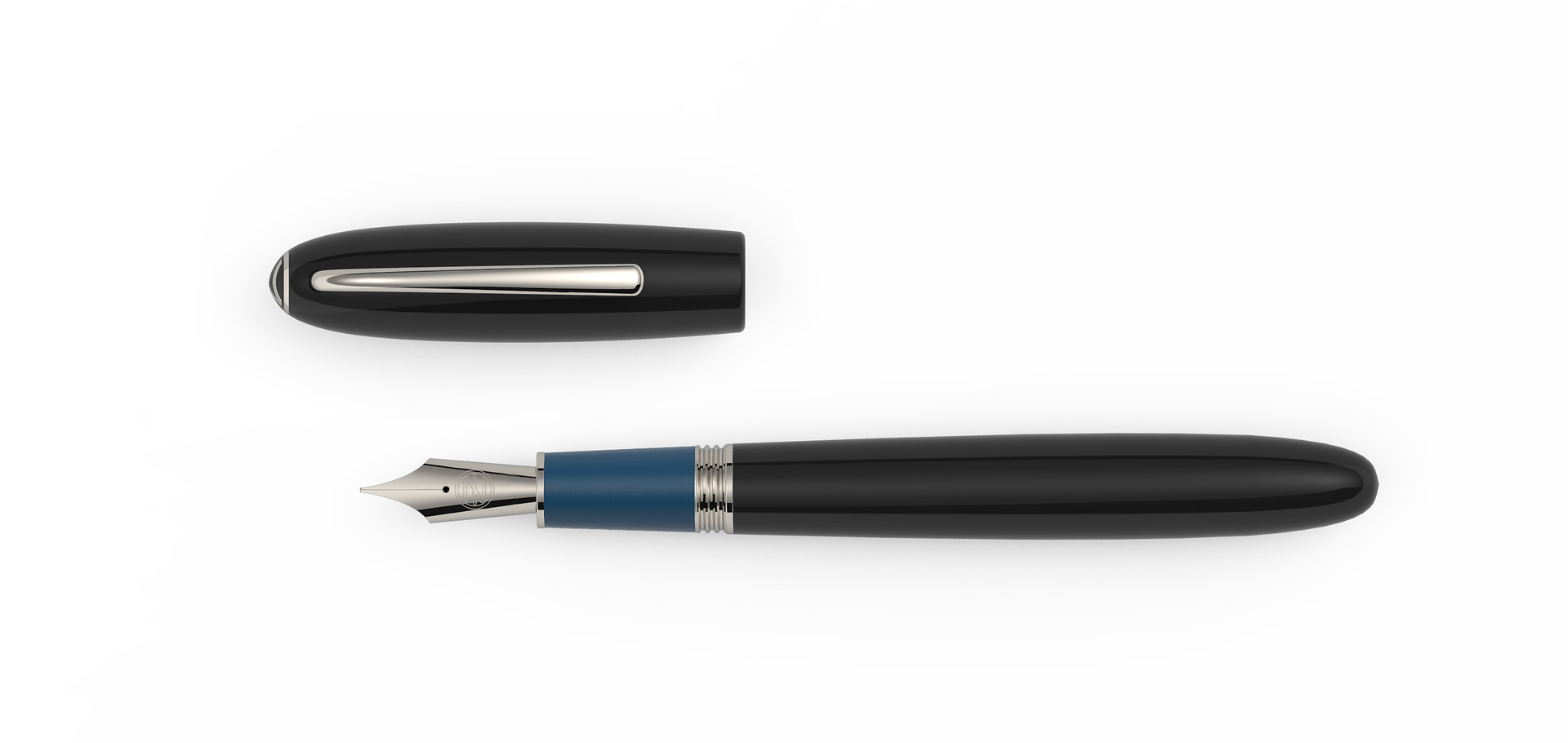 steel nib platinum plated fittings black and blue Ebonite  1.325,- €
