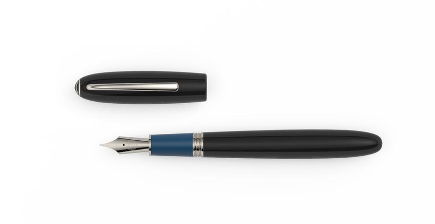 Stahlfeder platinierte Metallelemente blau und schwarzes Ebonite  1.325,- €