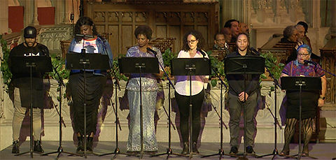 Six readers stand at music stands; Michael Roberson, Gia Love, Robin Reese, Molly Rose Kaufman, Destyn Martin, and Sandra Montes.
