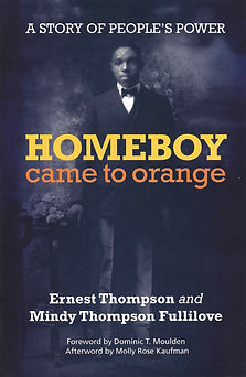 The book cover of Homeboy Came to Orange with a portrait of a young Ernest Thompson.