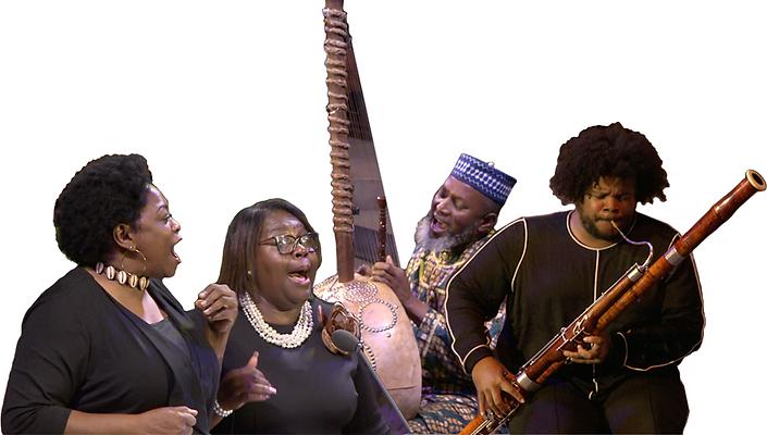 Two women singing, a man playing kora, a person playing bassoon.