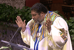 Reverend Barber delivers a sermon at The Riverside Church.