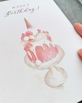 pink birthday cake watercolor print clos