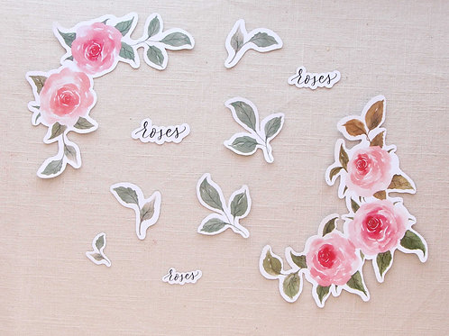 Roses Wreath Sticker Set