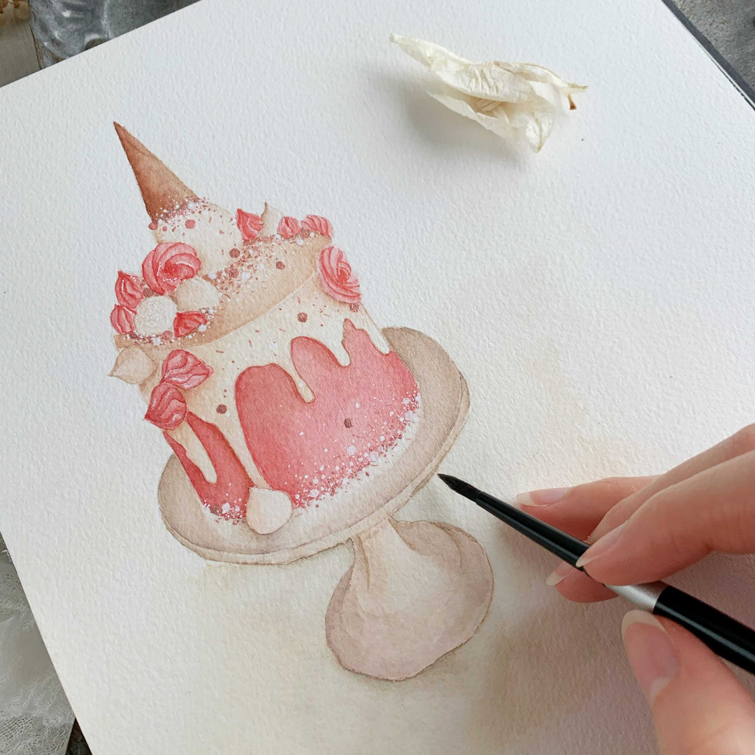 pink birthday cake watercolor original p