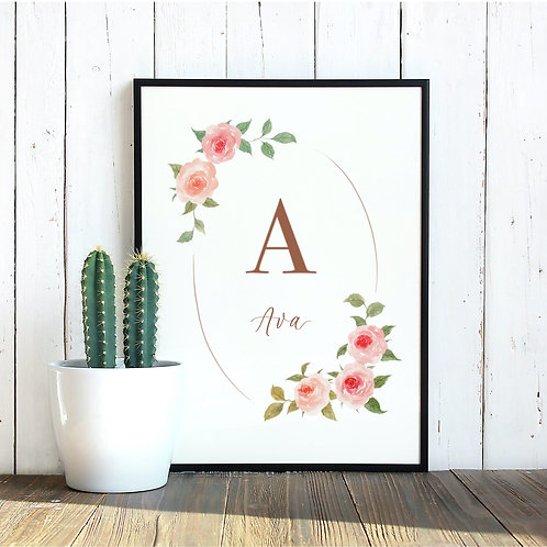 """Personalized Watercolor Roses Wreath Print 8x10"""""""