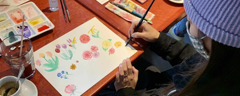 floral watercolor class bay area team building.jpg