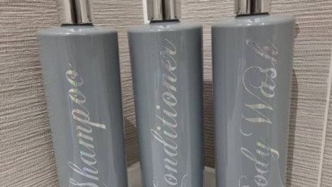 500ml Grey Pump Bottles With Personalisation