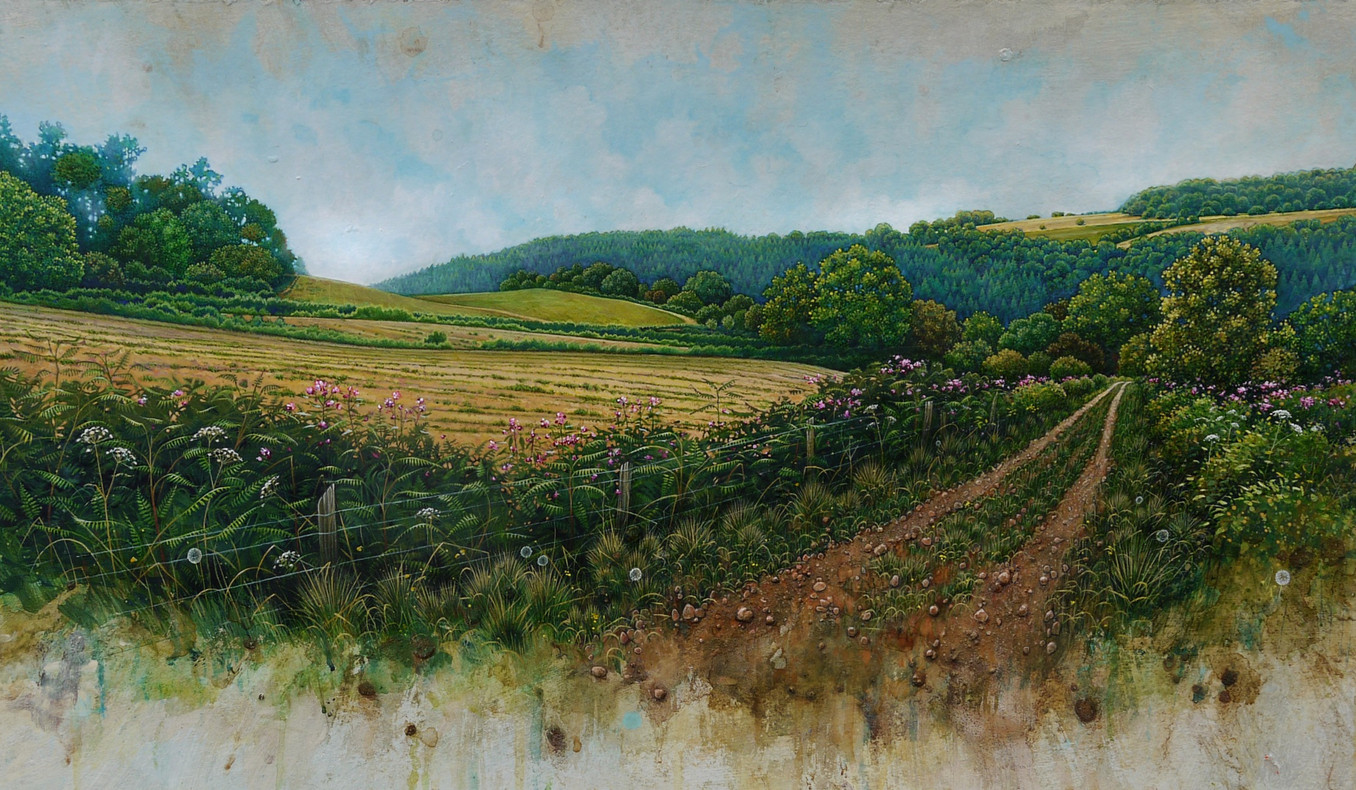 Wye Valley with wild flowers. 42x89cm - SOLD