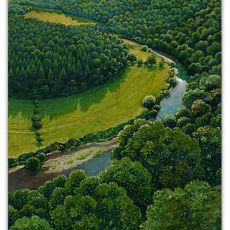 Oxbow on River Wye, Symonds Yat. 20 x15 cm