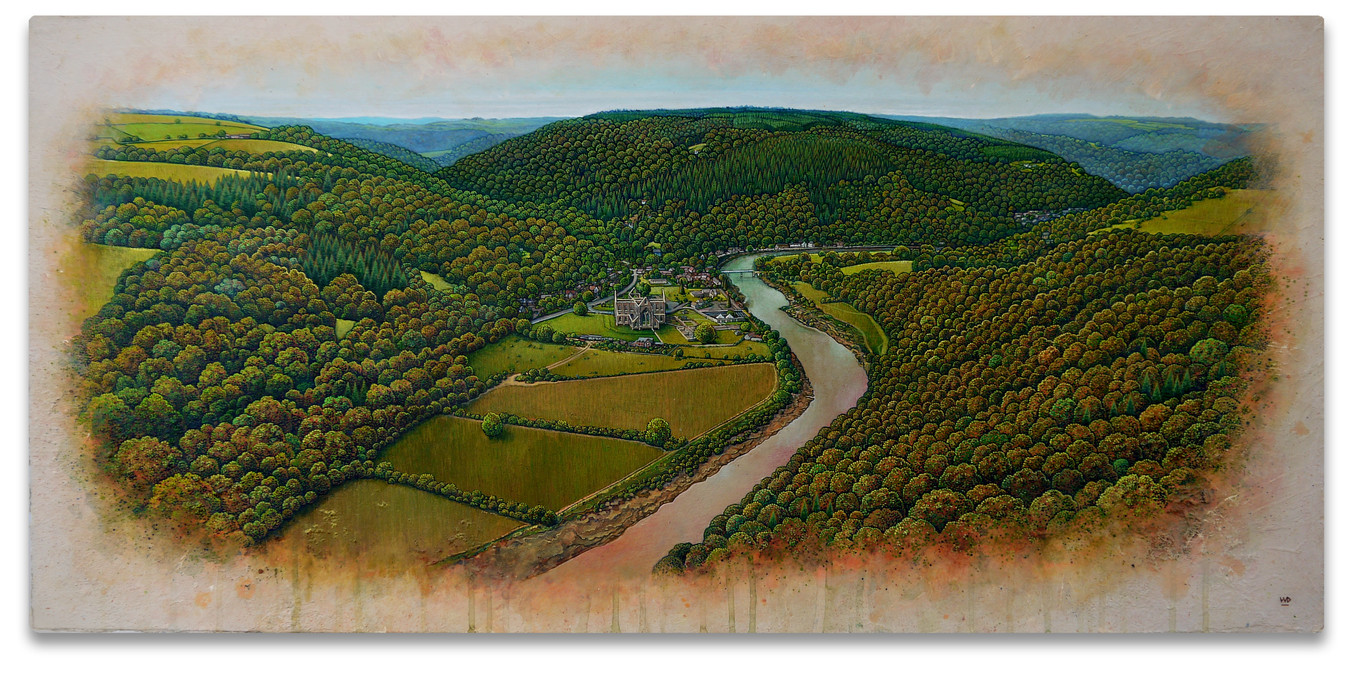 Tintern Abbey, view from the Devil's Pulpit. 42x89cm