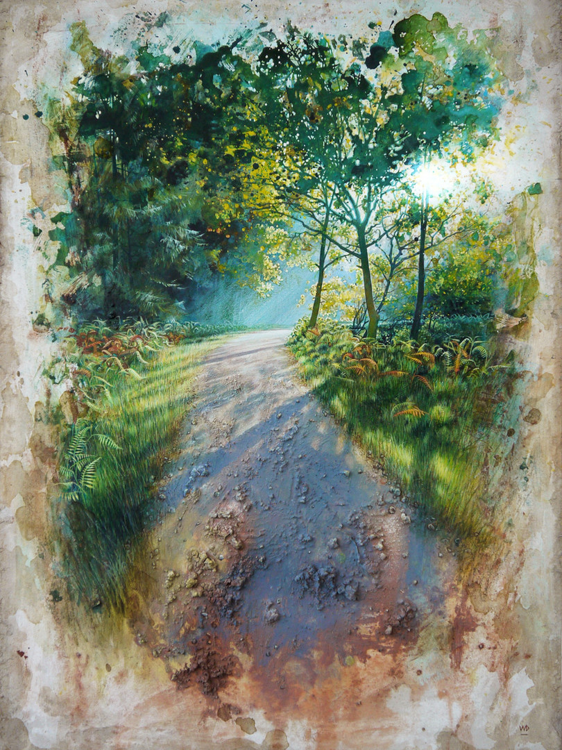 Oakenhill, Path through Rudge Brook. 45x64cm.