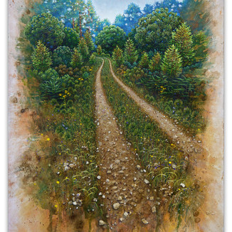 Track with Birch saplings, 45x33cm, Acrylic gouache and earth samples.