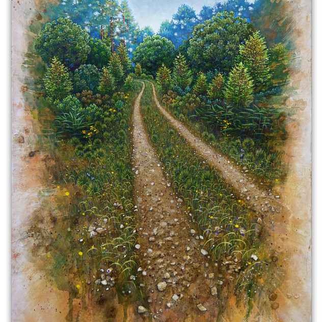 Track with Birch saplings, 45x33cm, Acrylic gouache and earth samples.