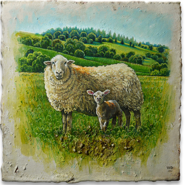 Ewe & lamb wi'orange spots. 13x13cm. - Available