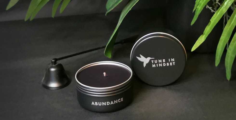 Natural wax candle black ABUNDANCE