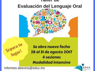 Nueva Fecha Taller de Evaluación de Lenguaje Oral