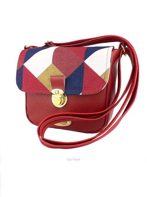 Mini sac à main bandoulière bordeau/géométrique
