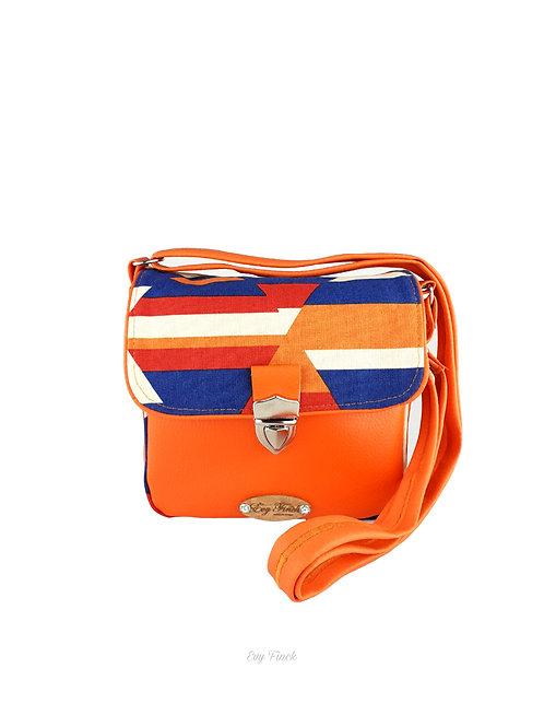 mini sac à main bandoulière orange/géométrique