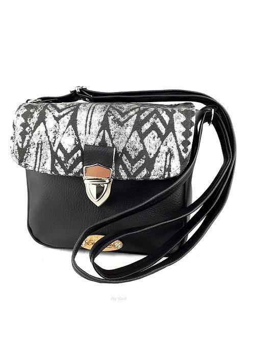 Mini sac à main bandoulière noir/ethnique argenté