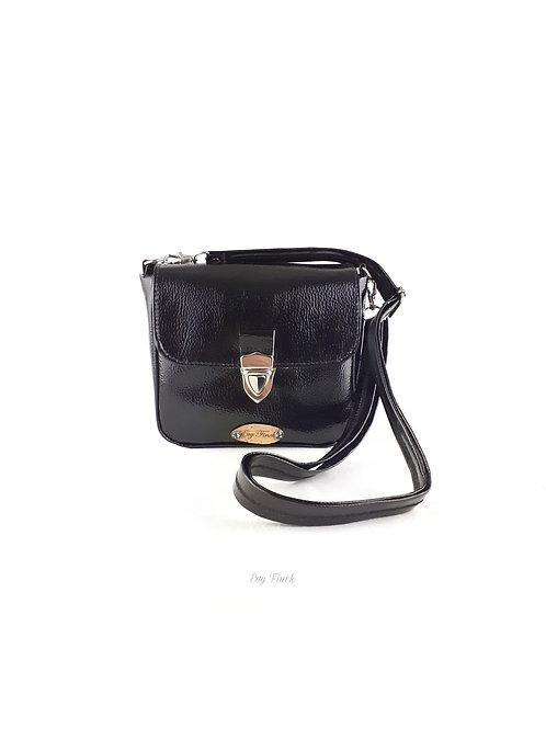 mini sac à main bandoulière brillant noir