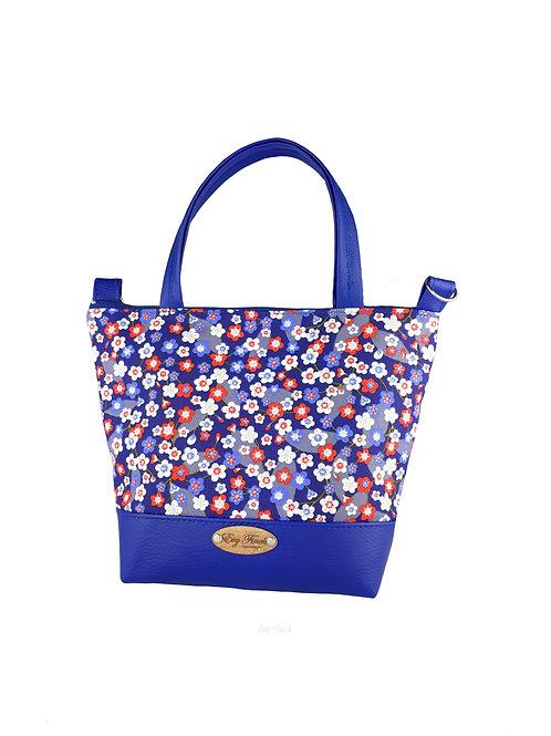 Mini sac cabas bleu roi et fleurs