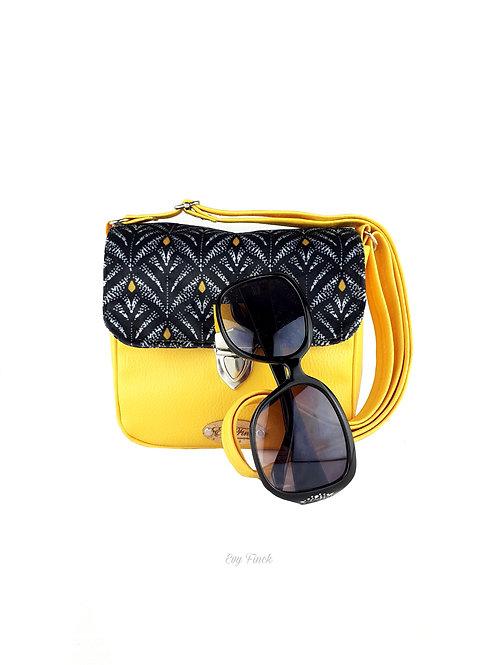 Mini sac à main bandoulière jaune/ velours noir et jaune