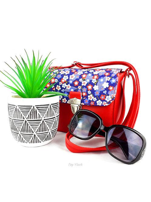 Mini sac à main bandoulière rouge vif/fleurs