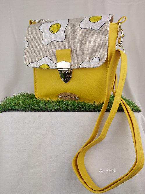 mini sac à main jaune motif oeuf