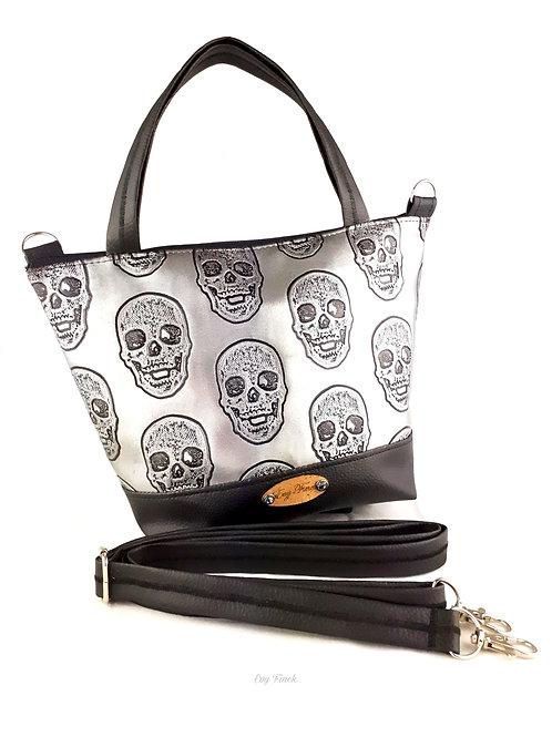 Mini sac cabas noir/argenté têtes de mort