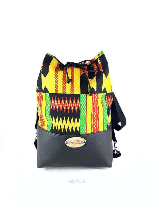 sac seau, sac à dos wax africain