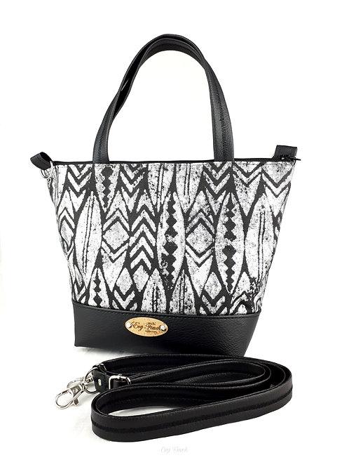 Mini sac cabas noir / ethnique argenté