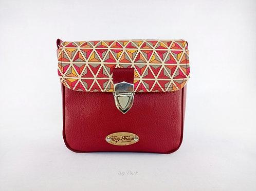 mini sac à main bandoulière bordeaux/géométrique